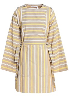 See By Chloé Woman Bow-detailed Striped Cotton-canvas Mini Dress Sand