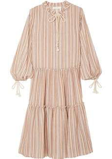 See By Chloé Woman Bow-detailed Striped Gauze Midi Dress Pastel Orange