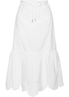 See By Chloé Woman Embroidered Cotton-poplin Midi Skirt White