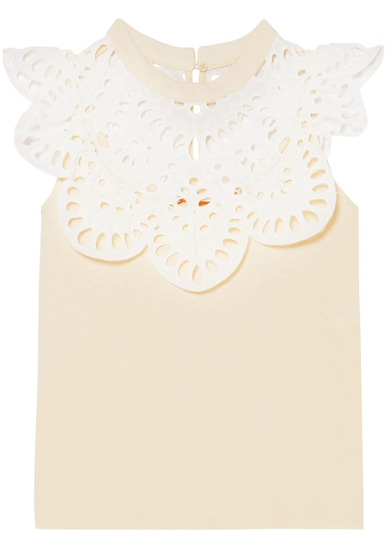 See By Chloé Woman Broderie Anglaise-paneled Brushed Cotton-jersey Top Pastel Orange
