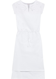 See By Chloé Woman Asymmetric Broderie Anglaise-paneled Cotton-jersey Dress White