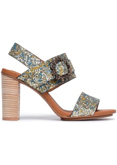See By Chloé Woman Buckle-embellished Painted Glittered Leather Sandals Gold