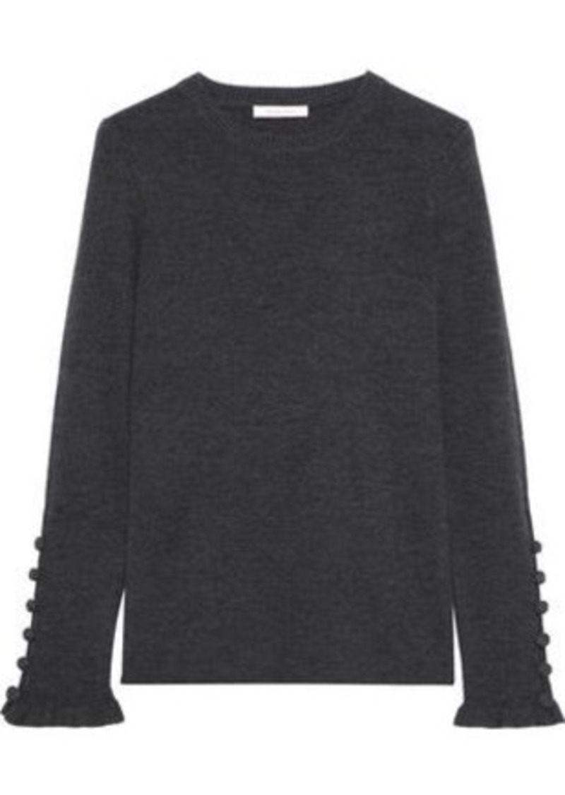 See By Chloé Woman Button-detailed Mélange Ribbed Wool Sweater Dark Gray