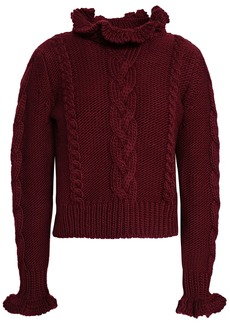 See By Chloé Woman Cable-knit Wool Turtleneck Sweater Claret