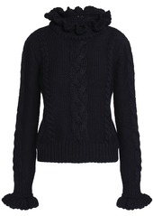 See By Chloé Woman Ruffle-trimmed Cable-knit Wool Sweater Midnight Blue