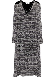 See By Chloé Woman Chenille-paneled Floral-print Georgette Midi Dress Black
