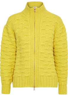 See By Chloé Woman Cloqué-knit Alpaca-blend Turtleneck Cardigan Yellow