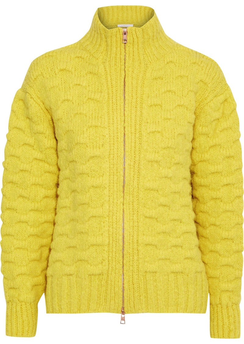 See By Chloé Woman Cloqué-knit Alpaca-blend Turtleneck Cardigan Yellow