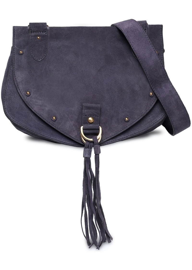 See By Chloé Woman Collins Studded Suede Shoulder Bag Indigo