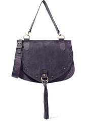 See By Chloé Woman Collins Medium Tasseled Suede Shoulder Bag Dark Purple