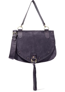 See By Chloé Woman Collins Medium Tasseled Suede Shoulder Bag Dark Purple