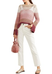 See By Chloé Woman Color-block Open-knit Cotton-blend Sweater Blush