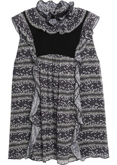 See By Chloé Woman Corduroy-paneled Floral-print Crepe De Chine Blouse Anthracite