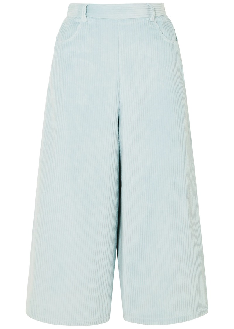 See By Chloé Woman Cotton-blend Corduroy Culottes Sky Blue