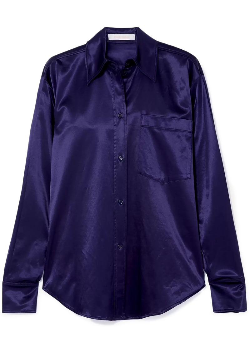 See By Chloé Woman Cotton-blend Satin Shirt Indigo