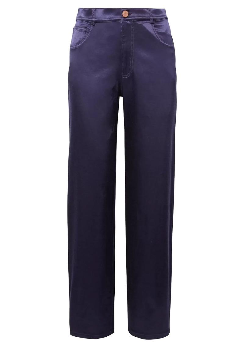 See By Chloé Woman Cotton-blend Satin Straight-leg Pants Indigo