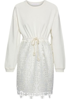 See By Chloé Woman Cotton-jersey And Guipure Lace Mini Dress Ivory