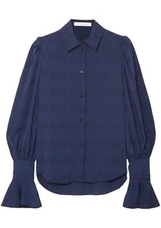 See By Chloé Woman Crinkled Crepe-jacquard Blouse Indigo