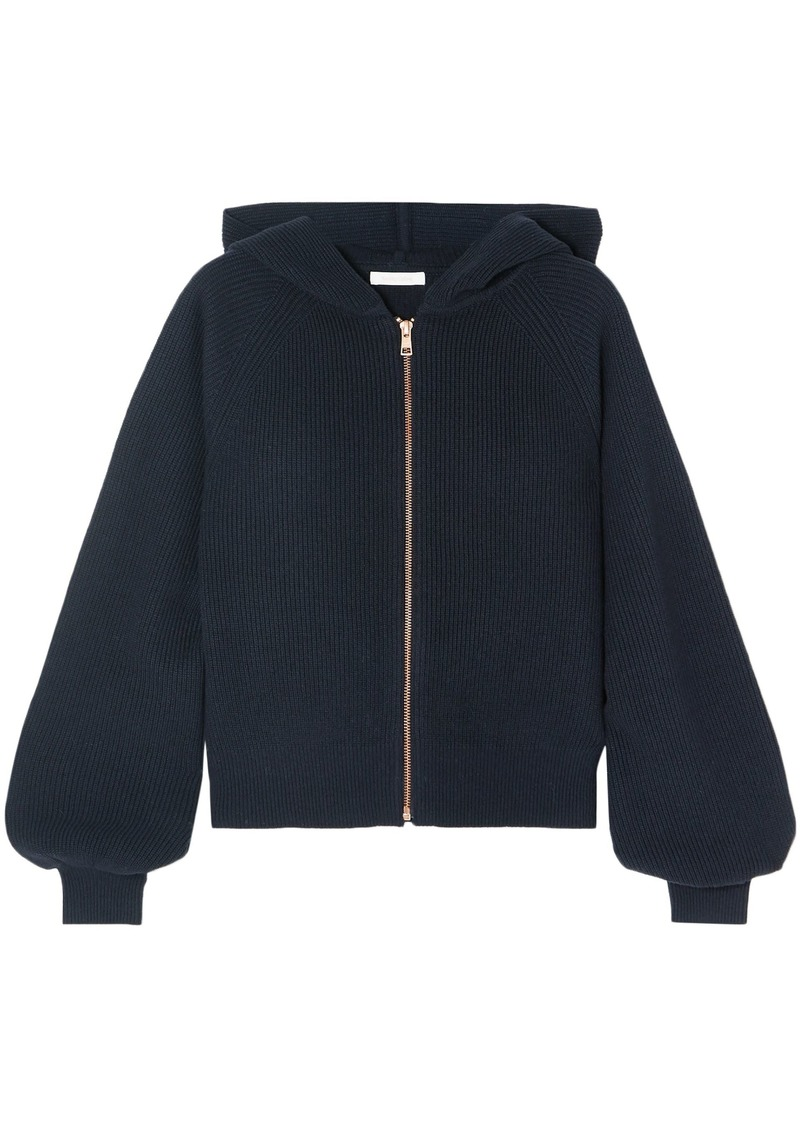 See By Chloé Woman Guipure Lace-paneled Wool And Cotton-blend Hoodie Midnight Blue