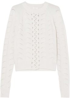 See By Chloé Woman Crochet-trimmed Pointelle-knit Sweater Ivory