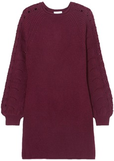 See By Chloé Woman Crochet-trimmed Ribbed-knit Mini Dress Plum