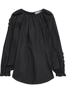 See By Chloé Woman Crochet-trimmed Scalloped Cotton-poplin Blouse Black