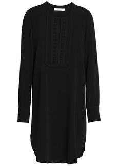 See By Chloé Woman Crochet-trimmed Twill Mini Dress Black