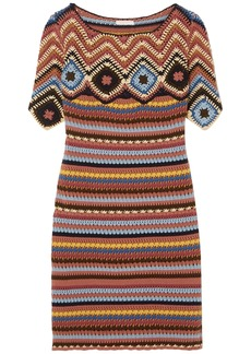 See By Chloé Woman Crocheted Cotton Mini Dress Brick