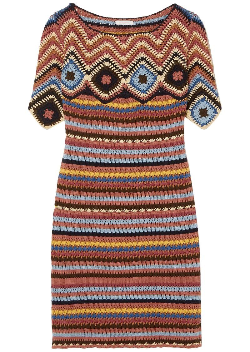 See By Chloé Woman Crocheted Cotton Mini Dress Brick