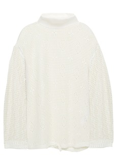 See By Chloé Woman Crocheted Turtleneck Top Off-white