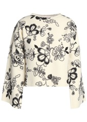 See By Chloé Woman Cropped Floral-print Wool Sweater Cream
