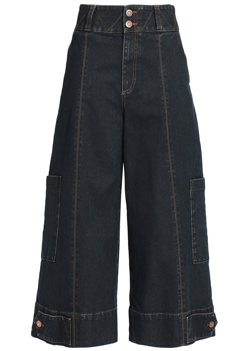 See By Chloé Woman Cropped High-rise Wide-leg Jeans Dark Denim