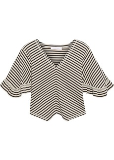 See By Chloé Woman Cropped Striped Cotton Top Beige