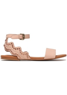 See By Chloé Woman Crystal-embellished Scalloped Leather Sandals Pastel Pink