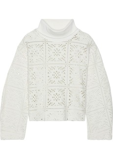 See By Chloé Woman Brushed Pointelle-knit Turtleneck Sweater Ivory