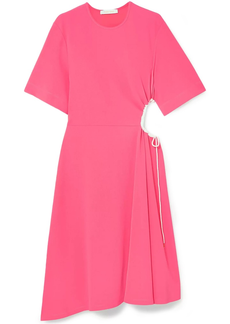 See By Chloé Woman Cutout Gathered Stretch-crepe Dress Bubblegum