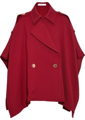 See By Chloé Woman Double-breasted Cotton-blend Twill Cape Crimson