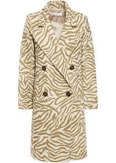 See By Chloé Woman Double-breasted Zebra-print Wool-blend Coat Neutral