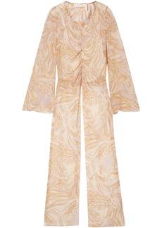See By Chloé Woman Asymmetric Ruched Printed Silk-chiffon Top Cream