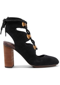 See By Chloé Woman Embellished Lace-up Suede Pumps Black