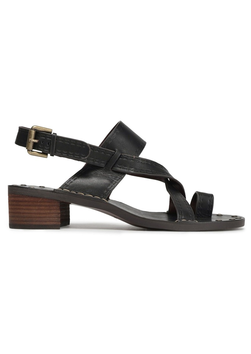 See By Chloé Woman Embossed Leather Slingback Sandals Black