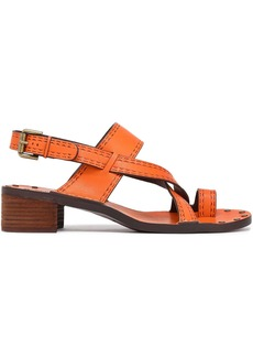 See By Chloé Woman Embossed Leather Slingback Sandals Orange