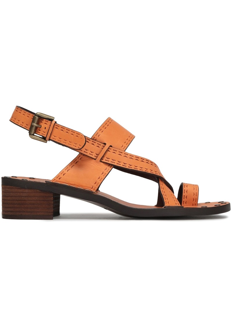 See By Chloé Woman Embossed Leather Sandals Pastel Orange