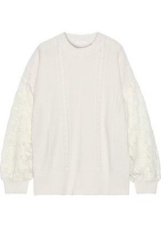 See By Chloé Woman Embroidered Lace-paneled Cable-knit Sweater Ivory