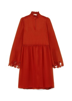 See By Chloé Woman Broderie Anglaise-trimmed Plissé-paneled Georgette Dress Brick
