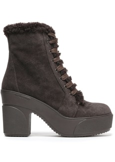 See By Chloé Woman Emily Shearling-trimmed Suede Platform Ankle Boots Dark Brown