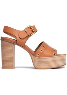 See By Chloé Woman Eyelet-embellished Leather Platform Sandals Light Brown