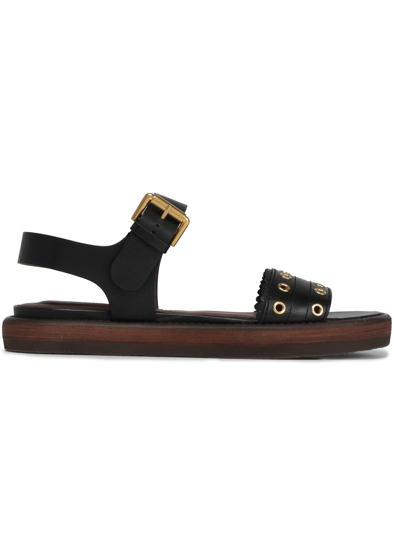 See By Chloé Woman Eyelet-embellished Leather Sandals Black