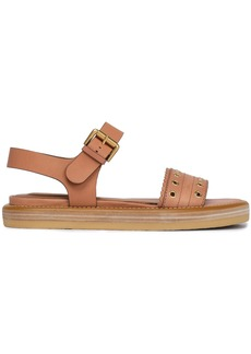 See By Chloé Woman Eyelet-embellished Leather Sandals Tan