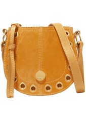 See By Chloé Woman Kriss Mini Embellished Suede-paneled Pebbled-leather Shoulder Bag Saffron